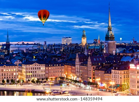 Night scene of the Stockholm City at top of Katarina elevator - stock photo