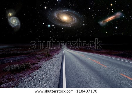 Night scene on a distant planet - stock photo