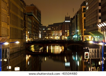 Night scene with a channel in a city