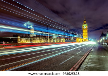 Night Scene with Cars' Tails in front of Big Ben on Westminster Bridge, London, UK