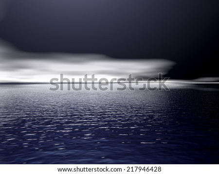 Night scene with ocean and clouds on the horizon
