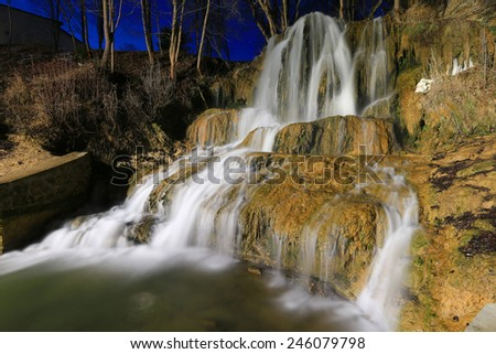 Night scene with waterfall.Take it in Luchky, Slovakia - stock photo