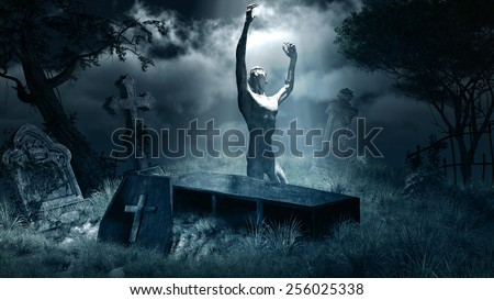 Night scene with zombie,graveyard,tombstones and coffin - stock photo