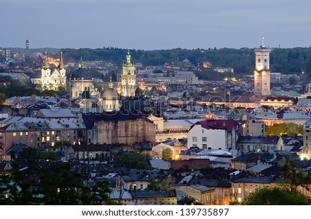 Night scenery of Lvov, view from height. Ukraine