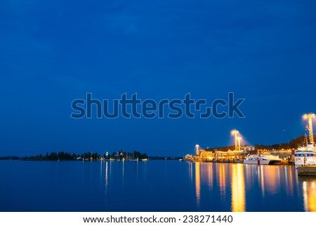 Night Scenery View Of Embankment In Helsinki, Finland - stock photo