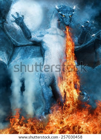 Night scenery with a blue dragon breathing fire - stock photo