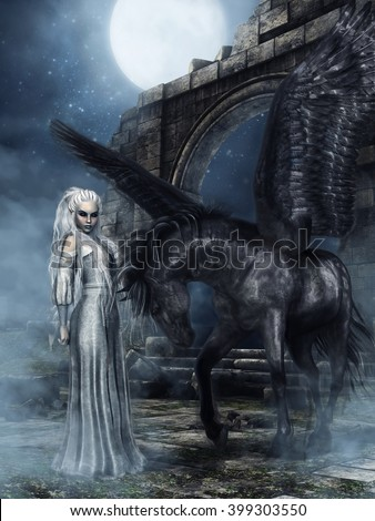 Night scenery with a fantasy elven princess and black winged horse standing in ruins of a castle. 3D illustration. - stock photo