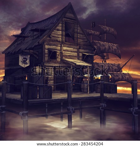 Night scenery with a fantasy pirate cottage and pirate ship  - stock photo