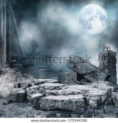 Night scenery with a moon, ruined city and rubble - stock photo