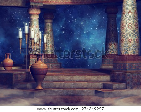 Night scenery with ancient columns, candles and vases