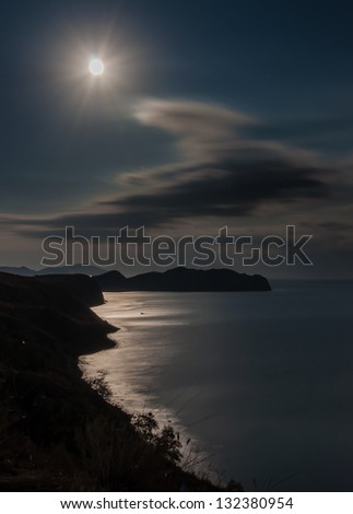 night scenery with sea and moon - stock photo