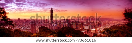 Night scenes of the Taipei city, Taiwan - stock photo