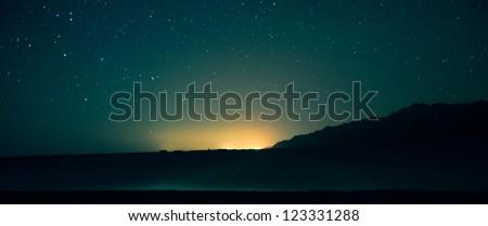 night scenic landscape: stars on the Egyptian sky - stock photo