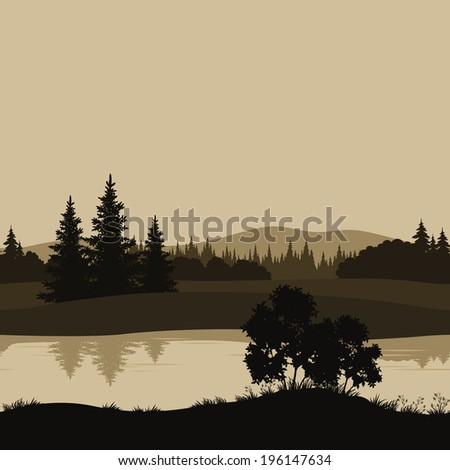 Night seamless landscape, mountains, river and trees silhouettes. - stock photo