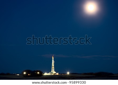 Night Shot Drilling Rig Potash Mine Saskatchewan Canada - stock photo
