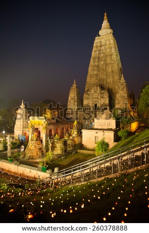 Night Shot. Mahabodhi temple, bodh gaya, India. The site where Gautam Buddha attained enlightenment.  - stock photo