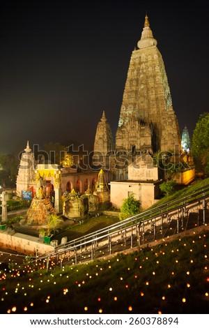 Night Shot. Mahabodhi temple, bodh gaya, India. The site where Gautam Buddha attained enlightenment.  - stock photo
