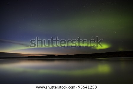 Night Shot Northern Lights Saskatchewan Canada - stock photo