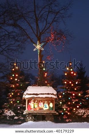 Night shot of a Nativity Scene, Three Kings bow, Three Wise Men