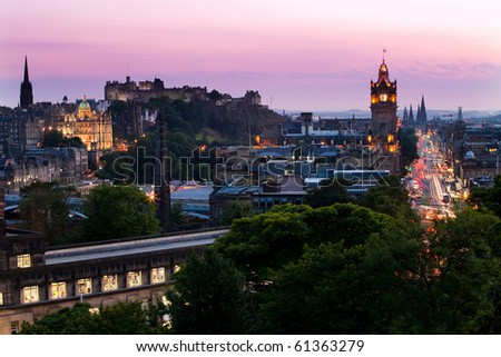 Night shot of Edinburgh - stock photo