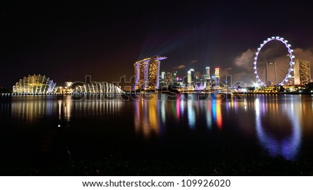 Night shot of Marina Bay city scape, Singapore