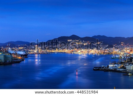 Night shot of Nagasaki city