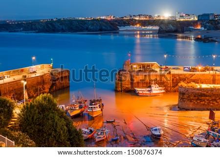 Night shot of Newquay Harbour Cornwall England uk - stock photo