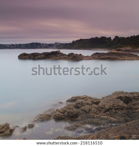 NIght shot of Perros Guirec - stock photo