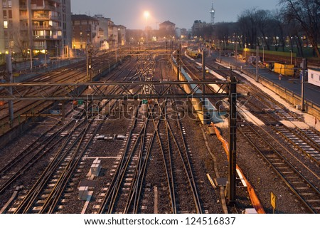 Night shot of railway station with railroad switch