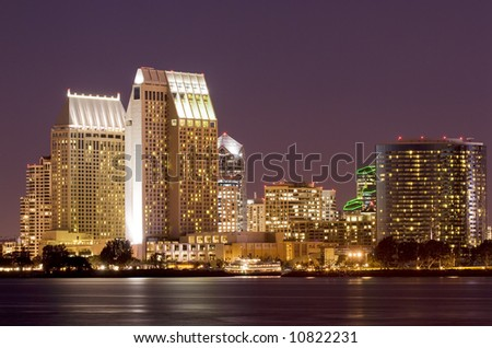Night shot of San Diego, California skyline taken from Coronado Island. - stock photo