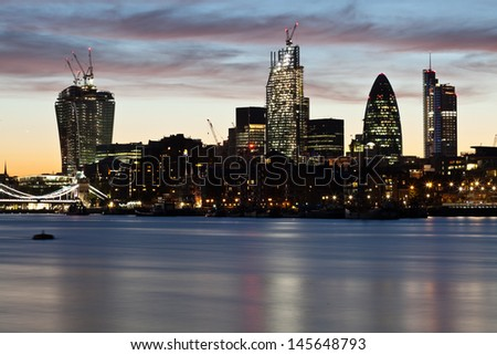 Night shot of the city of London