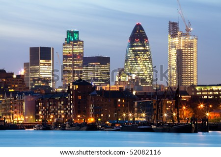 Night shot of the city of London - stock photo