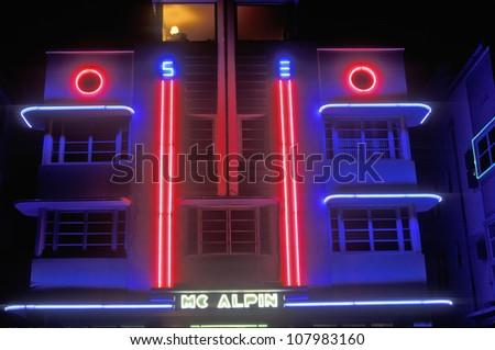 Night shot of The Mcalpin Hotel in south beach, Miami Beach, Florida - stock photo