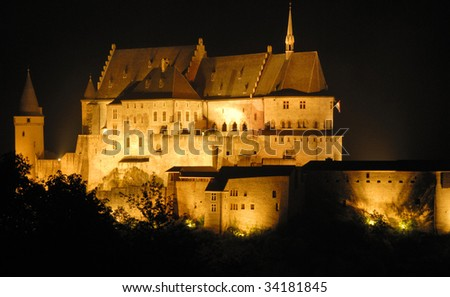 Night shot of the old castle of Vianden in Luxembourg,Europe. - stock photo