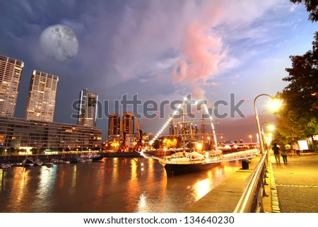Night shot of the Puerto Madero in Buenos Aires, Argentina, South america.