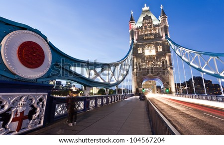 Night shot of Tower bridge, London - stock photo