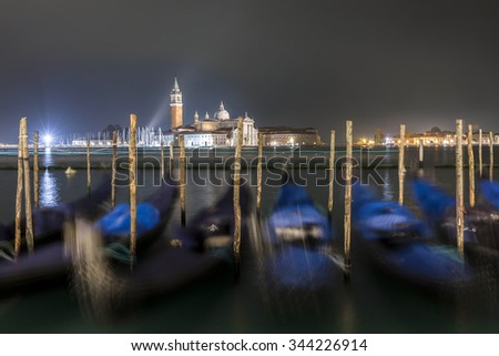Night shot of Venice and Gondolas