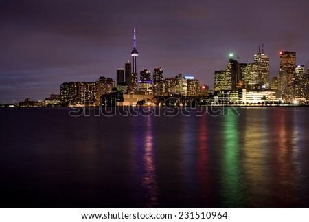 Night Shot Toronto City in Ontario Canada Lake reflection - stock photo
