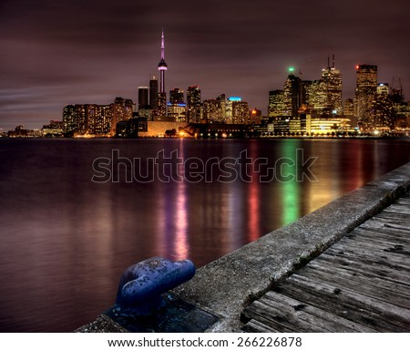 Night Shot Toronto skyline in Ontario Canada - stock photo