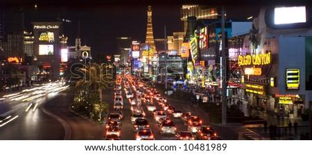 Night shot Vegas strip - stock photo