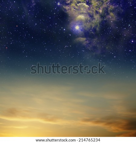 Night skies with clouds, stars and nebula - stock photo