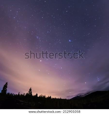 night sky above volcano Teide and volcano Pico Viejo at Tenerife - stock photo