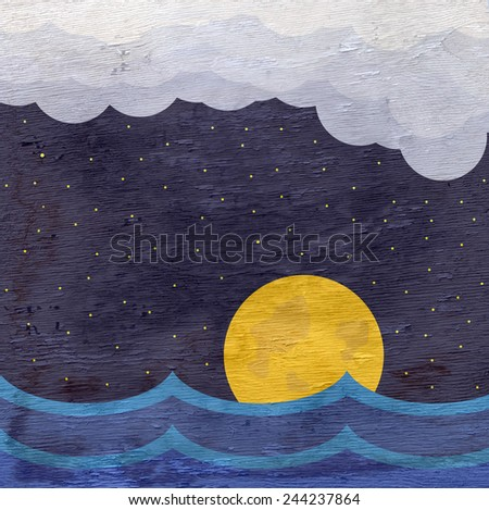 night sky and ocean with wood grain texture - stock photo