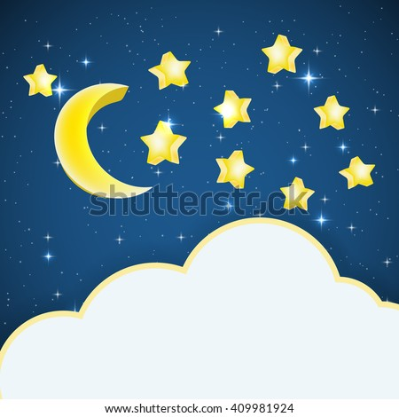 night sky background with cartoon stars and moon and cloud frame for text. raster illustration
