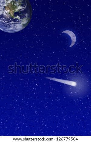 Night sky filled with a shooting star and crescent moon and earth -  Elements of this image furnished by NASA