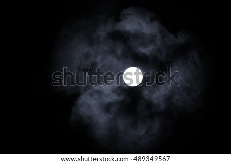 Night sky gothic background with full moon beneath the clouds