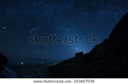 Night  sky in winter desert mountains Bektau-Ata, Kazakhstan.NOTE: Low resolution because the night shot with high ISO. - stock photo