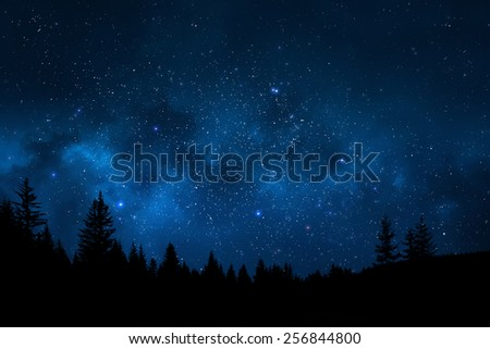 Night sky mountain landscape - stock photo