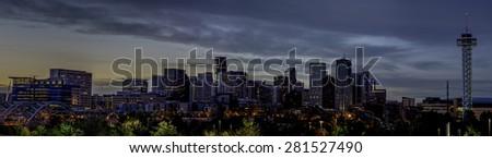 Night sky over Denver Colorado - stock photo
