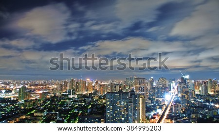 Night sky over the city